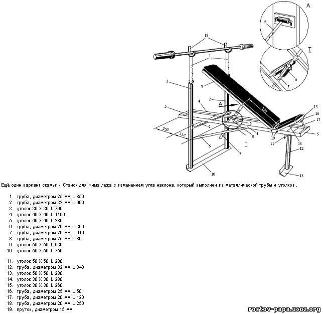 Как сделать скамью скотта своими руками чертежи и размеры 87